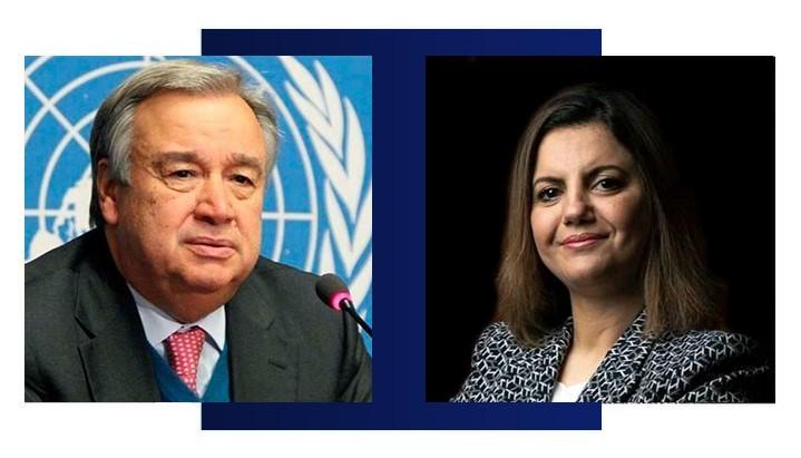 صورة وزيرة الخارجية والتعاون الدولي تبحث مع الأمين العام للأمم المتحدة آخر المستجدات محليا وإقليميا